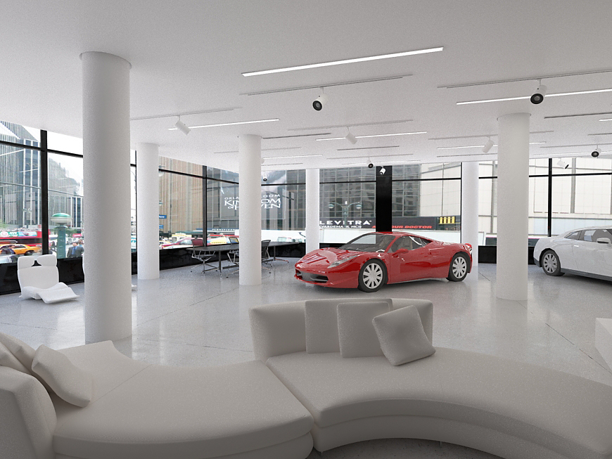 car retail new york  3d rendering 3d design visualization 3d visualization car store design car show